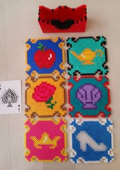 Disney Princess coasters perler beads by LittleDpiece