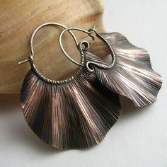 Large  Copper Hoop Earrings - The Wave Hoops - Copper And Sterling Silver Mixed Metal Hoops - Artisan Earrings
