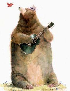 Musicians... by Kei Acedera -- (bear playing guitar, bird, illustration)