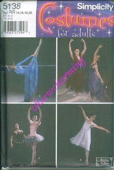 Ballet Dress Dancer Sewing PATTERN Simplicity 5138 Sizes 14-16-18-20 OOP VHTF Tutu Recital