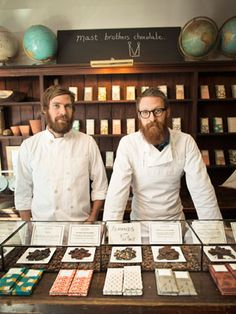 Mast Brothers Chocolate in Brooklyn:     Brothers Michael (left) and Rick Mast sell their bean-to-bar chocolate in flavors like serrano pepper and almond — sea salt at a storefront tasting room, and host behind-the-scenes tours of their factory on weekends. (Tours cost $9.99; 718-388-2625, mastbrotherschocolate.com)