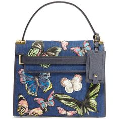Valentino My Rockstud embroidered denim and textured-leather tote (3,500 CAD) ❤ liked on Polyvore featuring bags, handbags, tote bags, purses, valentino, blue, crossbody tote bag, crossbody handbags, blue tote bag and embroidered tote bags