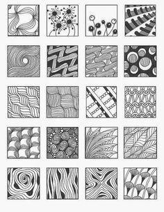 Resultado de imagen para zentangle patterns for beginners Tangle Doodle, Tangle Art, Zen Doodle, Doodle Art, Zentangle Drawings, Doodles Zentangles, Doodle Drawings, Easy Zentangle, Doodle Designs