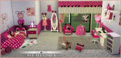 """sssvitlans: """" Downloads sims 4: Kids' Furniture Bedroom Minnie Mouse Faby&Jenni For JenniSims (19 items) by JenniSims Download """""""