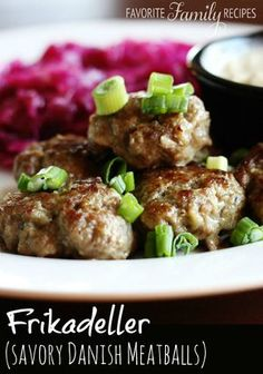 Frikadeller (Danish Meatballs) - My husband brought back this Frikadeller recipe from Denmark. Danish Cuisine, Danish Food, Beef Dishes, Food Dishes, Pork Recipes, Cooking Recipes, Meatball Recipes, Barbecue Recipes, Cooking Tips