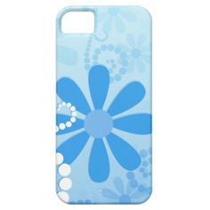 A cute, girly blue floral pattern iPhone 5 Barley There Case with pastel blue retro flowers and strings of beads in swirls. Perfect for a teenage girl who loves powder blue fashion.