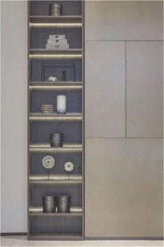 Loving this sleek built in - modern Cabinet Shelving, Bookcase Shelves, Display Shelves, Shelf Design, Storage Design, Cabinet Design, Furniture Decor, Furniture Design, Regal Design