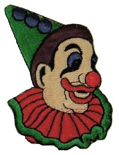 """[Single Count] Custom and Unique (2 5/8"""" x 3"""" Inches) Circus Clown Ruffled Collar Button Nose with Lipstick Iron On Embroidered Applique Patch {Green, Red and Tan Colors}"""