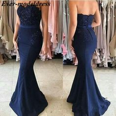 Navy Blue Lace Appliques Off the Shoulder Mermaid Bridesmaid navy bridesmaid dresses long - Bridesmaid Dresses Blue Mermaid Prom Dress, Navy Blue Prom Dresses, Mermaid Bridesmaid Dresses, Mermaid Dresses, Mermaid Wedding, Navy Blue Formal Dress, Lace Mermaid, Navy Dress, Evening Dress Long