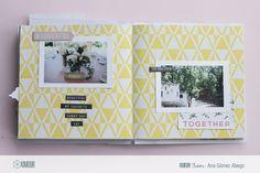 Mini álbum de estructura back to back con la colección Bloom de Crate Paper.