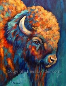 """Southwest Bison by Theresa Paden, painted on 20"""" x 16"""" gallery-wrapped canvas, 1.5"""" thick."""
