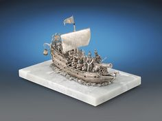 Rare Objets d'Art, Mechanical and Automaton, Silver and Jeweled Automaton Nef ~ M.S. Rau Antiques 20th Century