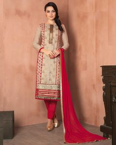 Beige   Lovely Embroidered Chanderi Designer Salwar Suits for women(Semi Stitched)       Fabric:   Chanderi       Work:   Embroidered       Type:   Designer Salwar Suits   for women(Semi Stitched)       Color:   Beige                 Fabric Top   Ch