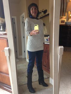 1/13/2015 Loft skinny modern fit jeans, cream cable knit sweater Loft Outlet, plaid, flannel shirt Old Navy, boots Kohl's, earrings and reindeer watch Charming Charlie's.