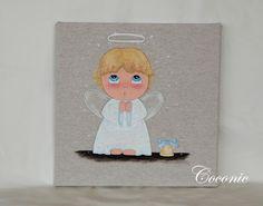 COCONIC: Cuadro infantil pintado a mano de niño angelito, personalizable.