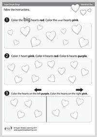 Valentine's Day Worksheet - Colors