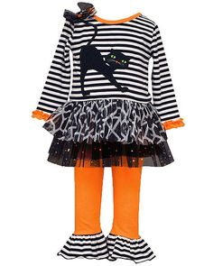 Orange NWT Purple BONNIE JEAN Girls Bewitching Owl 2 Piece HALLOWEEN Outfit