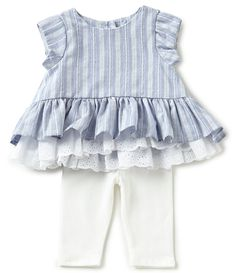 Pippa and Julie Baby Girls Newborn24 Months Striped Peplum Top and Solid Leggings Sets #Dillards