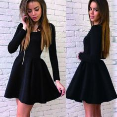 Long sleeve black stain simple graduation freshman harming homecoming prom dress,BD0019                                                                                                                                                                                 More