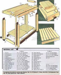 #162 Kitchen Work Table Plans - Furniture Plans
