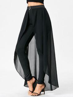 High Waist Slimming Pants with Skirt - BLACK XL