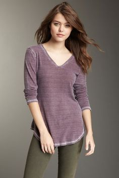 Solid V-Neck Distressed Thermal by Go Couture on @HauteLook