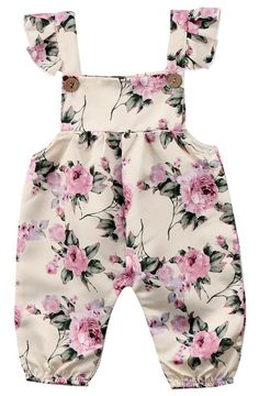 Your baby girl deserves to look outstanding and get tons of compliments. Check out this floral jumpsuit features buttons and flutter straps. - Baby Girl Dress - Ideas of Baby Girl Dress Baby Dress Patterns, Baby Clothes Patterns, Cute Baby Clothes, Doll Shoe Patterns, Baby Girl Fashion, Kids Fashion, Toddler Fashion, Baby Outfits, Kids Outfits