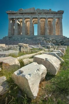 the Parthenon with other ruins - Athens - Greece