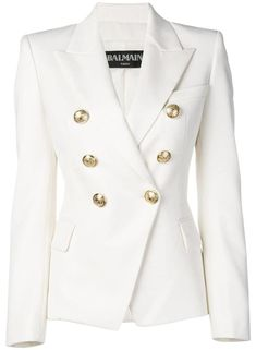 Shop now Balmain double-breasted tweed blazer for at Farfetch UK. Look Fashion, Fashion Outfits, Fashion Women, Fashion Online, Mode Chic, Chanel, Double Breasted Blazer, Tweed Blazer, Tweed Jacket