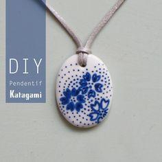 pendentif, katagami, ouuf, bleudesienne, DIY
