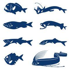 深海魚ステッカー(オニキンメ,アカクジラウオダマシ,オオヨコエソ,トガリムネエソ,ホウライエソ,オオクチホシエソ,オニハダカ,リュウグウノツカイ)