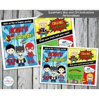 Superhero Party Personalised Invitation - Digital File