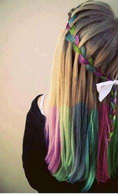 hair chalk waterfall braid