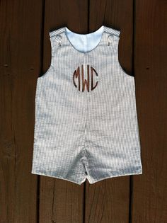 Brown and White Seersucker Stripe Baby Boys Jon Jon/Shortall, Circle Monogram/Diamond Monogram, Sizes 3 months to 3T on Etsy, $35.00