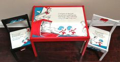 Dr. Seuss' Play Table and 2 Chairs (The Cat in the Hat) by PaintedbyLinda on Etsy https://www.etsy.com/listing/152574373/dr-seuss-play-table-and-2-chairs-the-cat