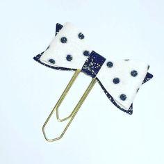 spotty planner clip bow planner clip black & white by DottyMooShop