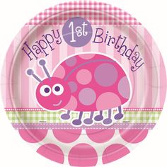 1st birthday girls pink ladybug party supplies