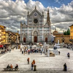 Piazza Santa Croce, Florence. Pay respects to Michelangelo, Fermi, Dante Alleghieri. Sit in the steps savoring gelato,  and shop the leather markets that line the piazza.  Great jeweler there, too.
