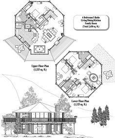 House Design Plans Two Story Bath 53 Super Ideas Round House Plans, Two Story House Plans, Best House Plans, House Floor Plans, Bungalow, Plan Hotel, House On Stilts, Bunker House, Octagon House