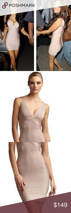 NEW Beige Tan Nude Herve Leger bodycon dress Small NEW Beige Tan Nude Body contouring dress size Small. S Fits sizes 00 0 2 4. Herve Leger BCBG great for prom or party evening. Very curve hugging. Cream color. Herve Leger Bandage Dress V Neck Holiday Prom Cocktail Bandage Dress. Bcon Studios New with Tags. Xs s m extra small small medium sizes. Materials: 91% rayon, 8% nylon, 1% spandex. Very stretchy. Solid / good quality. Excellent condition. Herve Leger Dresses Prom