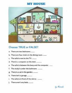 My house Language: English Grade/level: 1st year School subject: English as a Second Language (ESL) Main content: The house Other contents: Furniture, Prepositions of place Year 1 English Worksheets, English Worksheets For Kindergarten, Reading Comprehension For Kids, Reading Test, Prepositions, School Subjects, Your Teacher, Types Of Houses, Aesthetic Photo