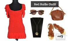 Red Ruffle Outfit, red dress outfit https://www.facebook.com/theworldofsecondhand/