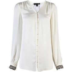 ELIZABETH AND JAMES embellished chantal blouse (3 320 SEK) ❤ liked on Polyvore featuring tops, blouses, shirts, women, pleated shirt, cuff shirts, v neck long sleeve shirt, long sleeve shirts and button front shirt
