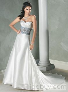 White And Silver Wedding Dress Dresses Lace Weddings Strapless