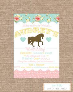 Printable Pony Birthday Party Invitation by splocher2 on Etsy, $10.00