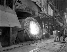 Rouge Steel, Dearborn, Michigan. Converter, BOF Vessel.