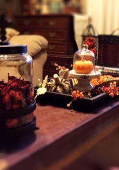 Wood tray, cloche and pumpkins; Fall decor