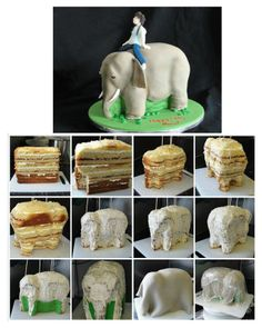 How to make an Elephant....from Cake! By Bespoke Bakery. Go to facebook pages for complete picture tutorial.