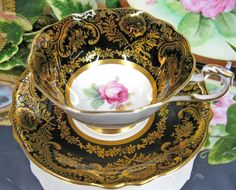 PARAGON TEACUP BLACK & GOLD GILT TEA CUP AND SAUCER DUO by Bente Endresen Kjelseth