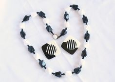 Vintage Black White Chunky Bead Necklace Earrings Set West Germany 1960s.
